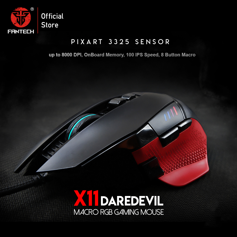 FANTECH X11 8D Macro Adjustable 8000DPI Ergonomic Mouse Gaming Mouse USB Optical Cable Mouse Mause Mice For FPS LOL Mouse Gamer