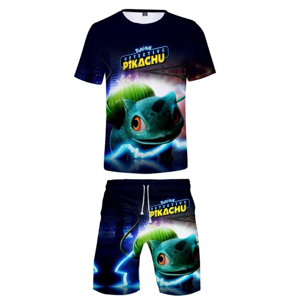 Pokemon Fashion Kawaii Anime 3D Unisex  Short Tshirt +  Beach Shorts Summer For  Cartoon  Leisure Clothes Set