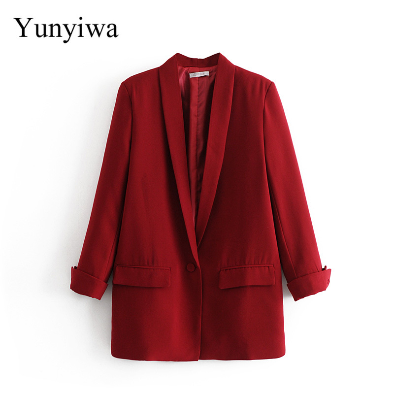 2019 Women Chic Black Red Blazer Pockets Single Button Long Sleeve Office Wear Coat Solid Female Casual Outerwear Tops