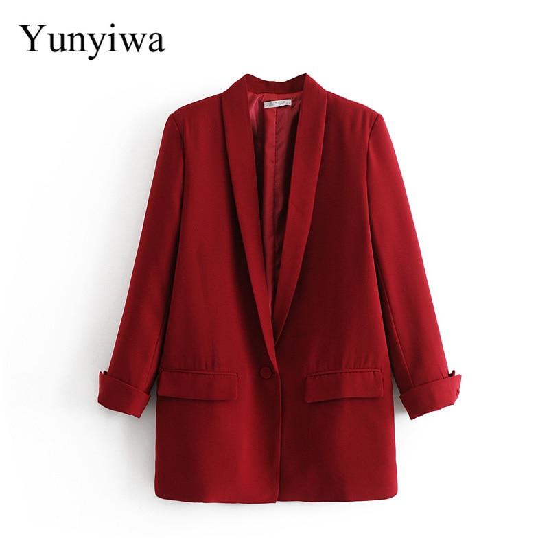 2019 Women Chic Black Red Blazer Pockets Single Button Long Sleeve Office Wear Coat Solid Female Casual Outerwear Tops