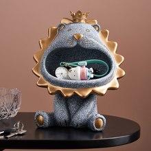 Caja de joyería con forma de León para el hogar, organizador de escritorio para guardar llave, hilo de coser, caja de té, cigarrillo, caja de herramientas, caja de dulces para cosméticos