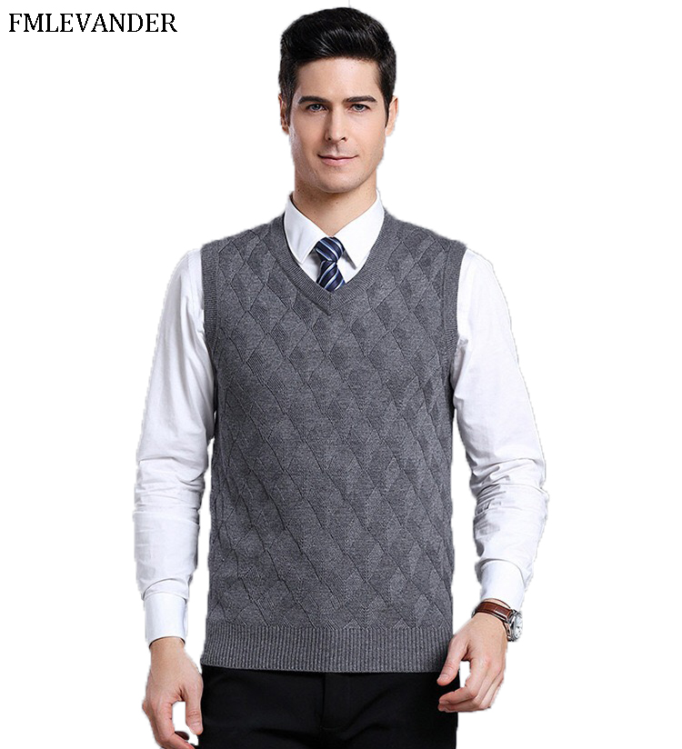 Gift For Dad Cashmere Wool Pullover V-Neck Business Sweaters Sleeveless Sweater Vest Men