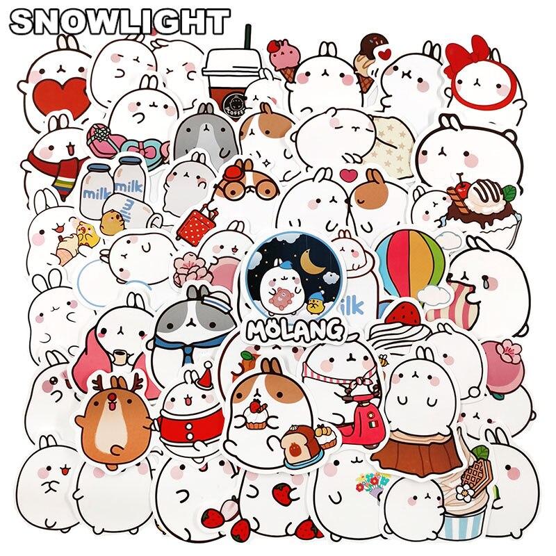 10/30/50pcs/lot Cartoon Round Rolling Rabbit Bunny Stickers For Snowboard Laptop Luggage Car Fridge Vinyl Decal Decor Stickers