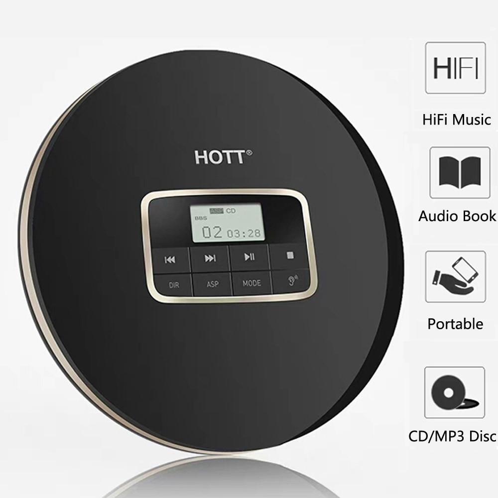 HOTT511 lecteur CD portable, lecteur de disque compact personnel, baladeur cd, effets sonores inclus plat/BBS/Pop/Jazz/Rock/classique