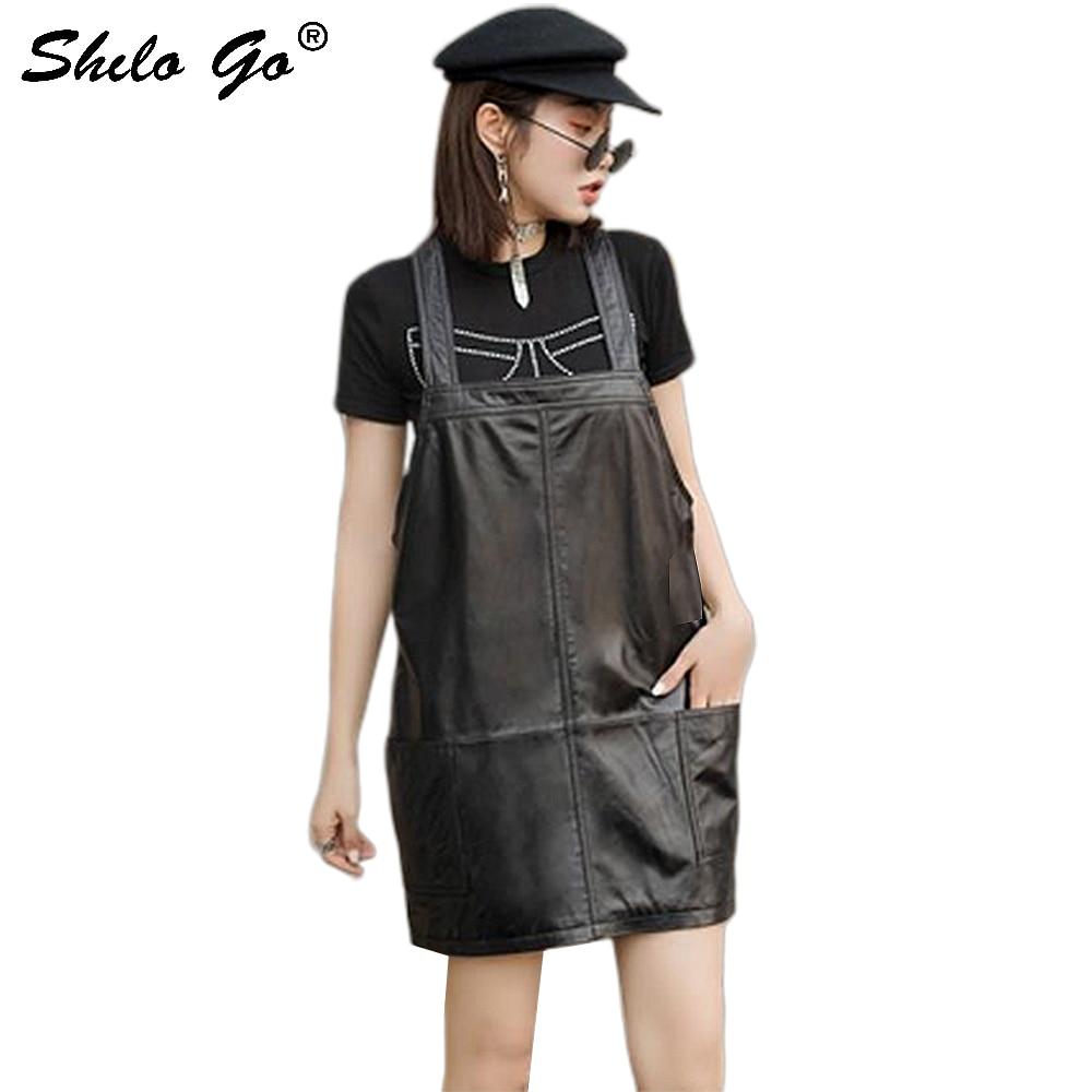 Genuine Leather Dress Black Solid Sleeveless Strap Dress Women Autumn Casual Plus Size Pocket Front Backless Sheepskin Dresses