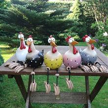 Yard Art Decor Chicken Garden Lawn Plug Hen Rooster Ornaments Hens Bird Statues Edge Seater Indoor Outdoor Backyard Decorations