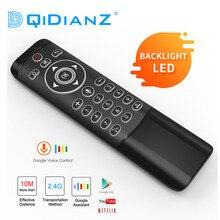Controle remoto de voz mt1 google, assistente aéreo giroscópio com luz de led 2.4g com sensor para android tv box x96 hk1 h96