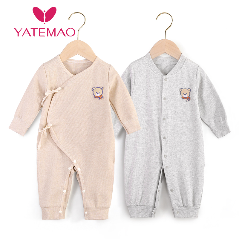 YATEMAO 0-12M Baby Clothes Newborn Baby Clothing Fastner Long Sleeve Jumpsuits For New Born Boys Girls