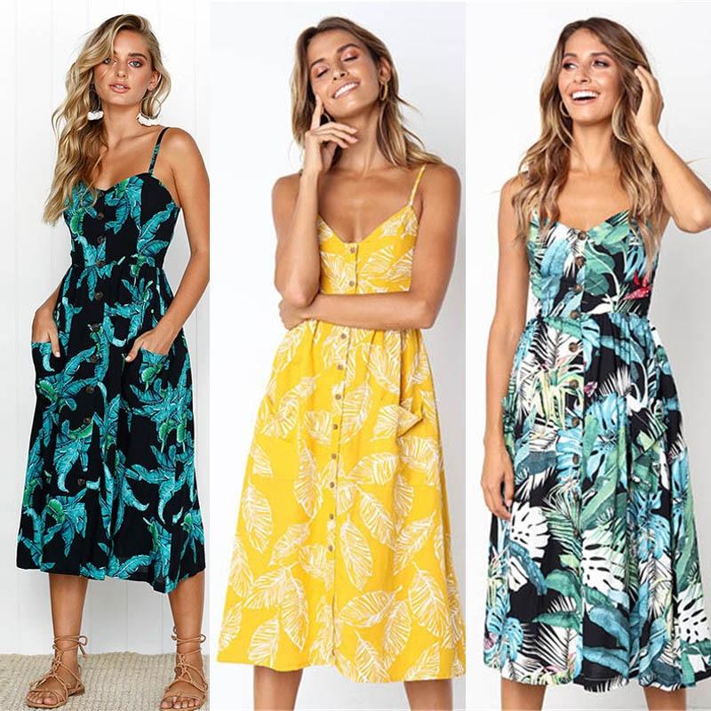 Casual Female Sundress Women Summer Dress 2020 Sexy Midi Dress Ladies Vintage Vestidos Backless Straps Plus Size Dresses Button 3