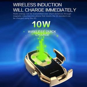 Image 2 - Qi voiture chargeur sans fil pour IPhone 11 Pro X XR XS Max Galaxy S10 S9 intelligent automatique serrage rapide charge prise dair support pour téléphone