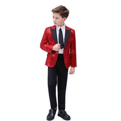 ילד ססגוניות נצנצים Slim חליפת מעיל עם מכנסיים ילד גאלה מסיבת מופע ריקודים בלייזר אופנה פסנתרן זינגר חולצות מעיל מכנסיים