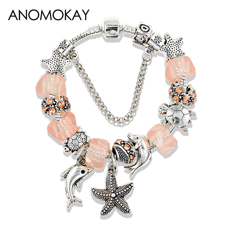 Dropshipping 5 Colors Ocean Starfish Dolphin Bead Bracelet DIY Crystal Charm Bracelets & Bangles Fashion Jewelry Gift Pulseras