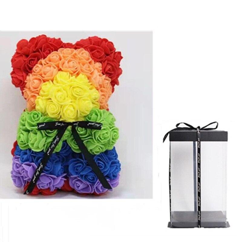 2021 DropShipping 25cm Rose Bear Heart Artificial Flower Rose Teddy Bear For Women Valentine's Day Wedding Christmas gift
