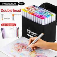 Finecolour маркер для спиртового искусства, цветная ручка для художника, двухголовый маркер для эскиза 36 48 60 72 набор EF101 маркеры для рисования