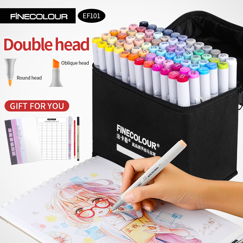 Finecolour Alcohol Art Marker Color Pen Artist Double Headed Sketch Marker 36 48 60 72 Set EF101 Markers For Drawing