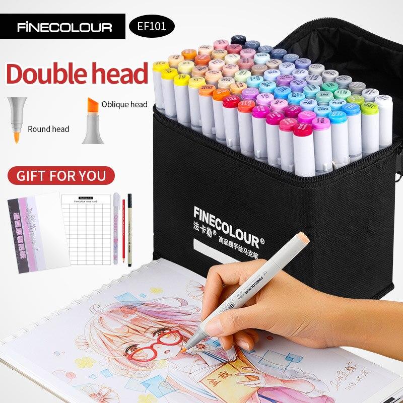 Где купить Finecolour маркер для спиртового искусства, цветная ручка для художника, двухголовый маркер для эскиза 36 48 60 72 набор EF101 маркеры для рисования