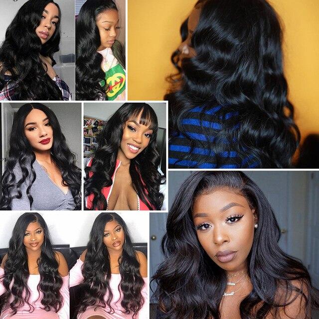 Koronkowa peruka na przód 4x 4/2x4 brazylijski peruka Body Wave średni brąz koronki przodu peruki z ludzkich włosów peruki typu Lace Front dla kobiet peruki z kręconymi włosami
