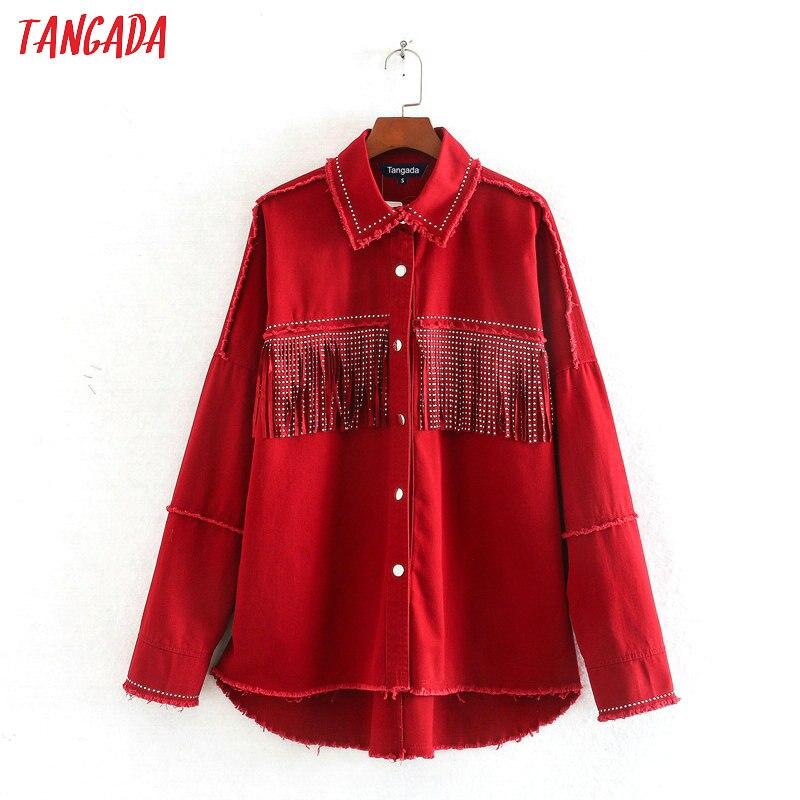 Tangada Women Fashion Red Oversized Jackets Tassels 2020 Turn Down Collar Coat Ladies Streetwear Tops CE130