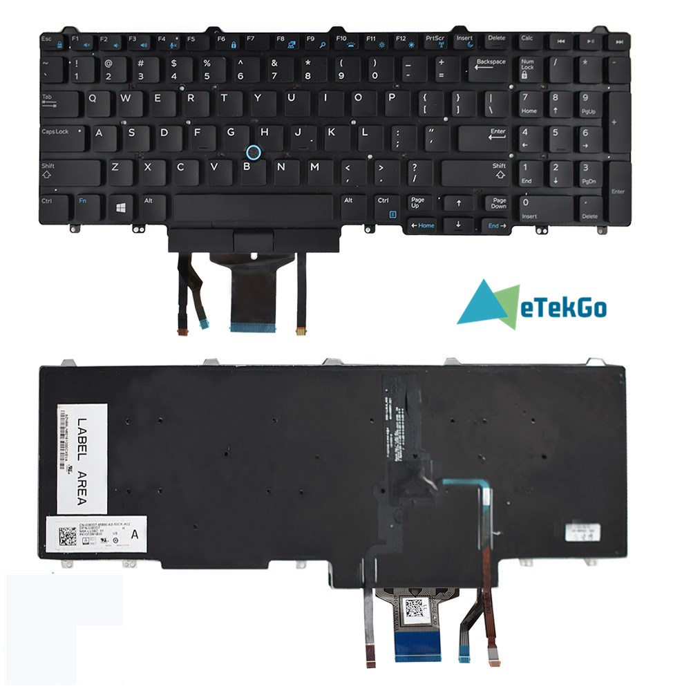 New Keyboard For Dell Latitude E5550 E5570 Laptops 383D7 Backlit&Pointer&Buttons