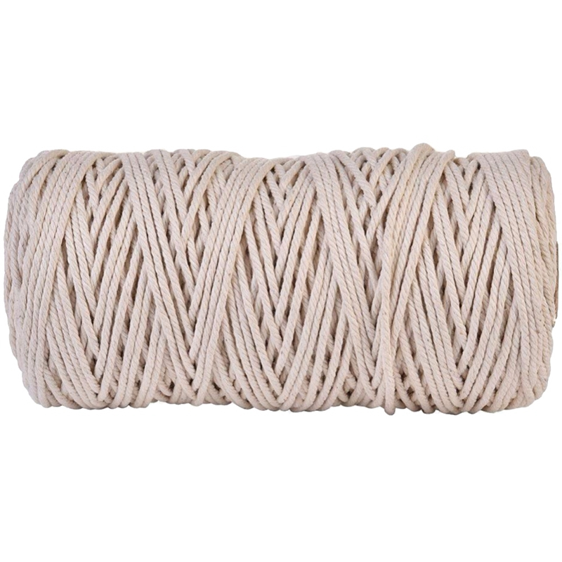 3Mmx200M Natural Handmade Cotton Cord Macrame Yarn Rope Diy Wall Hanging Plant Hanger Craft String Knitting