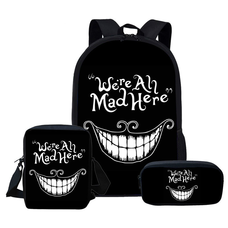 THIKIN Cheshire Cat Girls Children School Bags We Are All Mad Here School Backpack For Boys Kid Book Bag Mochila Infantil 2019