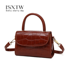 ISXTW Small Square Bag 2019 Autumn Fashion New High Quality PU Leather Handbag Crocodile Pattern Shoulder Messenger Bag / A38 european and american fashion crocodile pattern new handbag patent leather bright pu shoulder portable messenger bag 2018 new