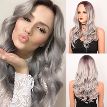 Costume Wig Hair-Wigs Light-Brown Middle-Part Cosplay Synthetic-Dark-Root White Black Women