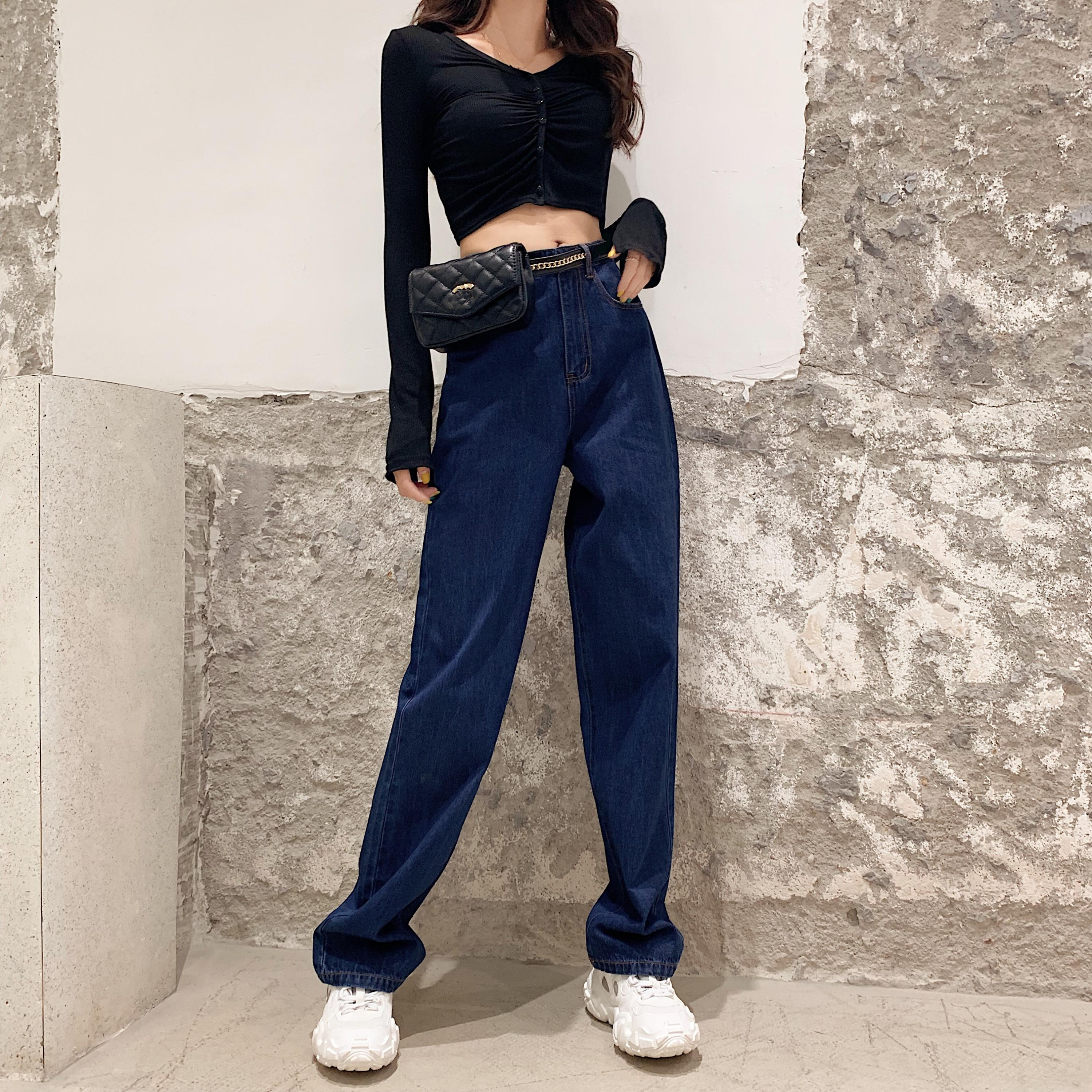 Boyfriend Street Jeans Women Plus Size Loose High Waist Vintage Straight Jeans Retro Denim Pants 2019 Cool Mom Jeans Chic