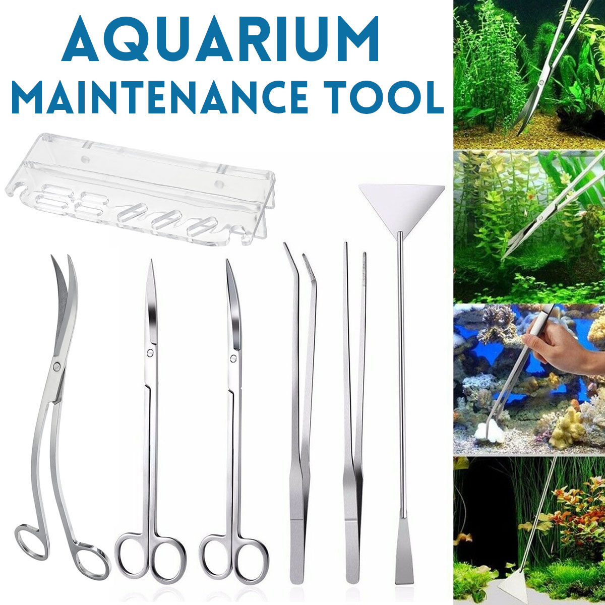 Aquarium Maintenance Tools Kit Tweezers Curve Scissor Storage Holder Stainless Steel Cleaning Tool For Fish Tank Water Plants