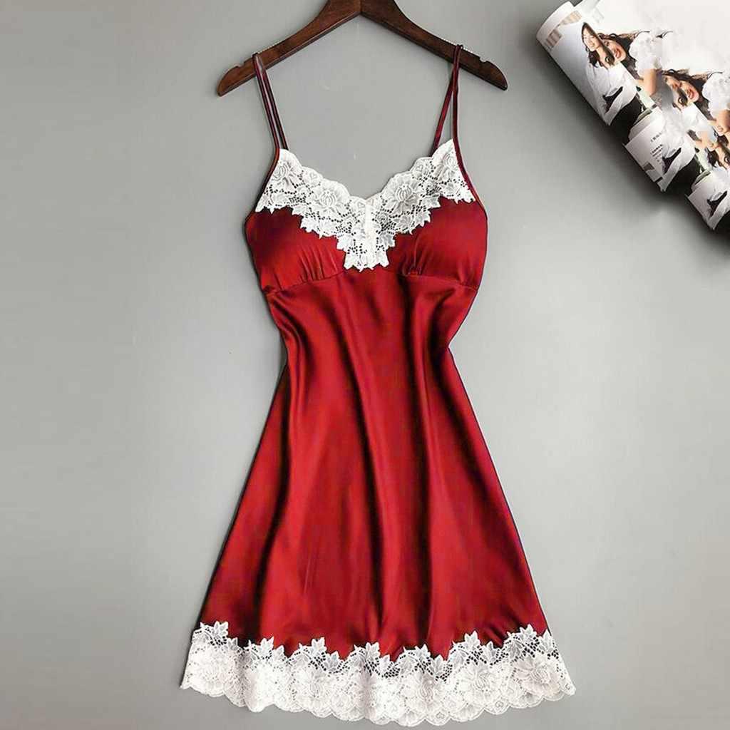 2S # женское сексуальное шелковое атласное Ночное платье без рукавов, ночная рубашка размера плюс, кружевное ночное белье на бретельках, ночная рубашка