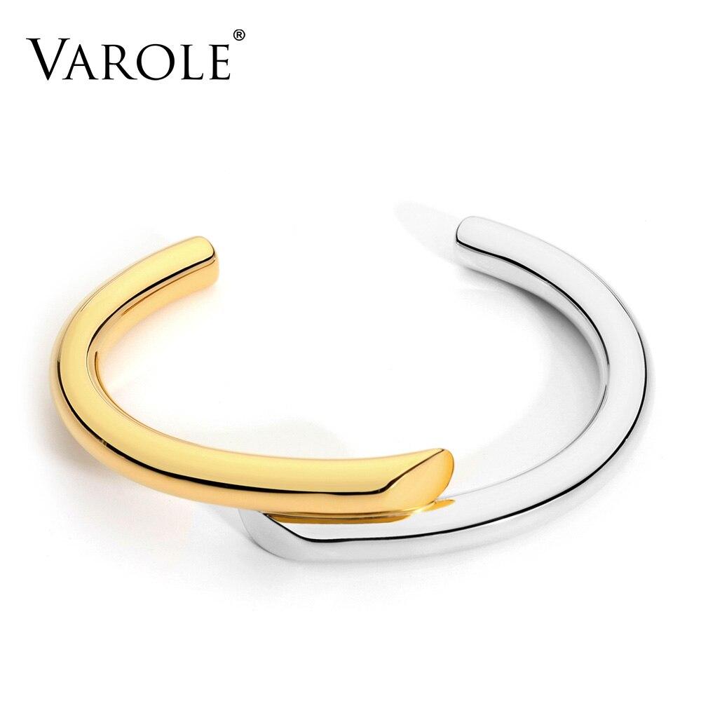 US $16.45 30% СКИДКА|Браслет VAROLE, простой дизайн, золотого цвета, женские браслеты Каффы|bracelets for women cuff|bangle bracelet|brand bangle bracelet - AliExpress