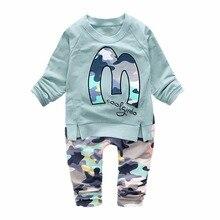 цена на Spring Autumn Baby Boys Girls Clothes Suit Children Casual Cartoon T-shirt Pants 2pcs/Set Toddler Cotton Clothing Kids Tracksuit