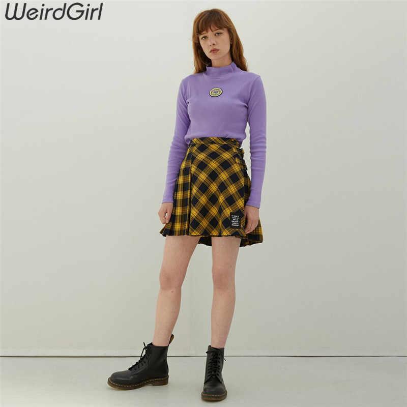 Weirdgirl נשים מקרית אופנה ארוך שרוול גולף סגול סתיו מכתב tees אלגנטי חולצות נשי סוודר רופף חדש