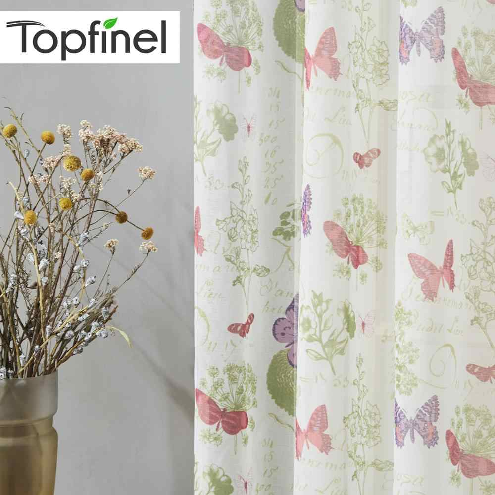 Topfinel Butterfly Sheer Curtain for Living Room Bedroom Kitchen Tulle Curtains for Window Treatment Children Girls Room