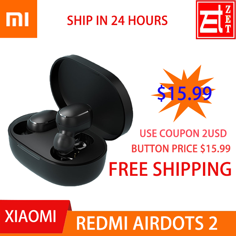 Original xiaomi redmi airdots 2 bluetooth earphone tws earphone Mi True Wireless  Stereo Bass EARBUDS 2