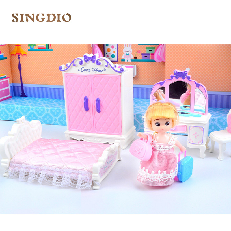 Girls doolhouse children accessories for doll house toys dining table music kitchen cute bedroom miniature furniture kit set