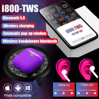 I800 TWS Arie2 6D Pop Up sans fil Bluetooth écouteur utilisation séparée QI sans fil charge basse écouteurs PK i200 i90 i12 i500