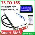 Защитная Плата Smart 7S к 16S BMS 320A 80A 300A для литиевого аккумулятора, плата балансировки Bluetooth APP Li-Ion Lipo lifepo4 LTO 8S 10S 13S 14S