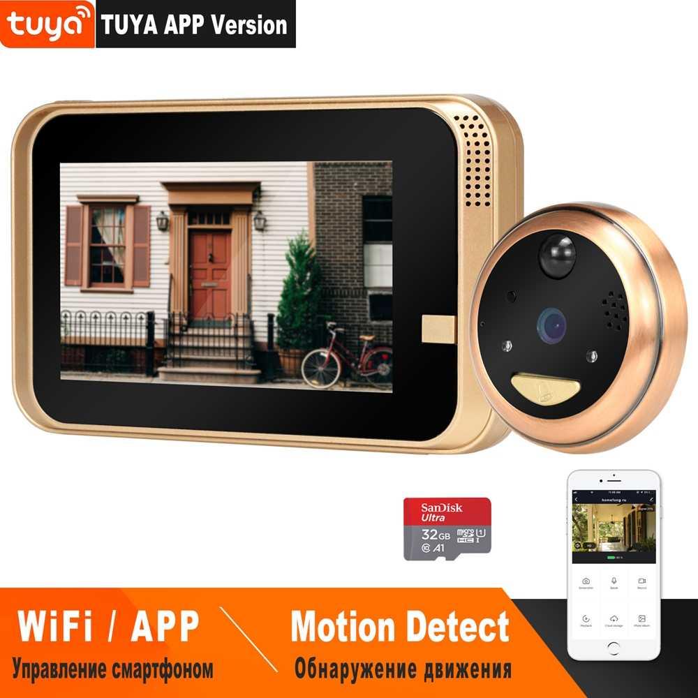 HomeFong الذكية فيديو ثقب Wifi الجرس كاميرا فيديو لاسلكية باب الهاتف للمنزل مع زاوية واسعة IR كشف الحركة سجل