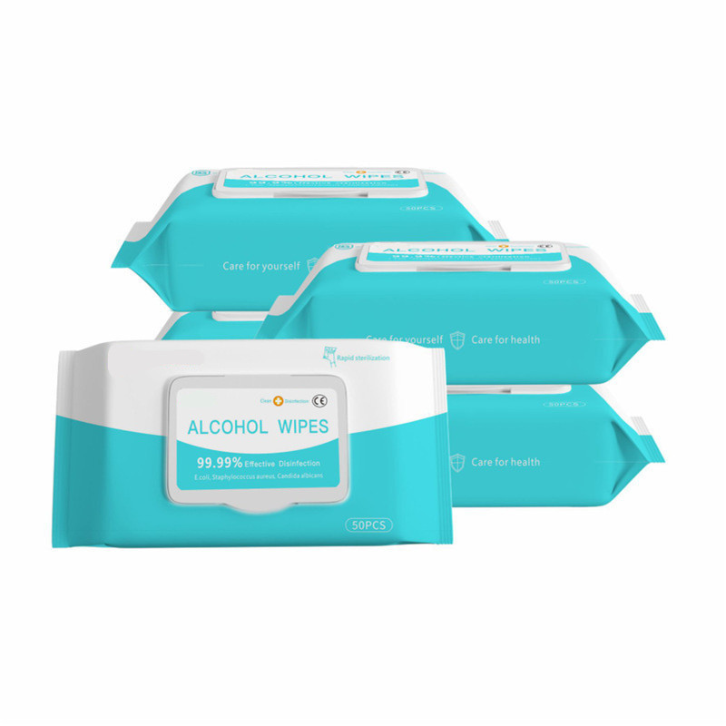 50 Pcs Alcohol Disinfection Wipes Pads Cleaning Sterilization 75% Alcohol Wipes Cleaning Portable Outdoor Travel Wet Wipes