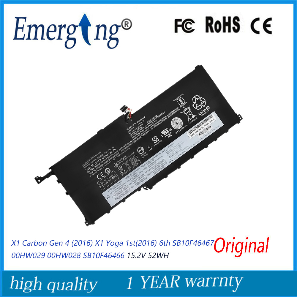 15.2V 52WH New Laptop Battery SB10F46467 for Lenovo ThinkPad X1 Carbon Gen 4 Yoga 1st(2016) 6th 00HW028 00HW029 image