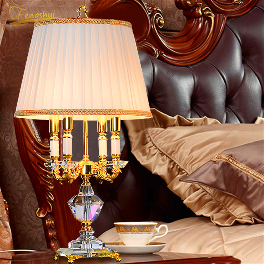 European LED Crystal Table Lamp Modern Fabric Lampshade Table Lights Living Room Bedside Lamps Interior Reading Decor Fixtures