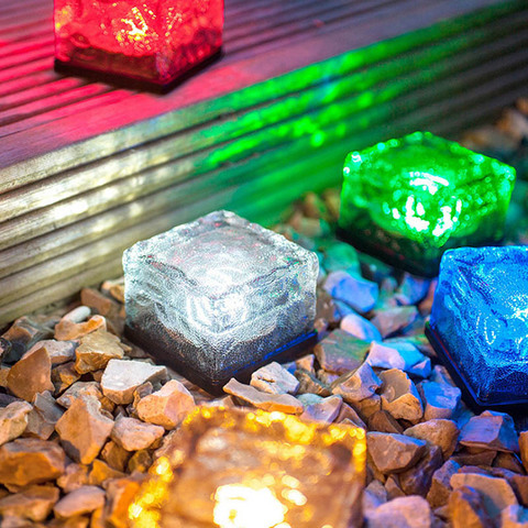 pedra de vidro movido a energia solar cristal tijolo led noite lampada para jardim quintal