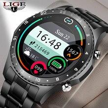 Lige 2021 novo relógio inteligente masculino tela de toque completa esportes fitness relógio bluetooth chamada ip67 à prova d' água bluetooth para android ios