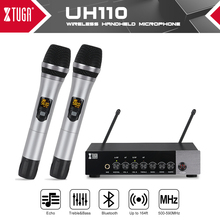 XTUGA UHF Dual Channel Wireless Handheld Microphone,Easy to Use Karaoke Bluetooth Microphone with Treble/Bass/Echo Effect