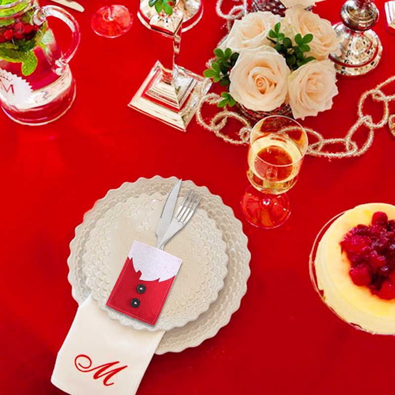 Christmas Pocket Bags Santa Claus Kitchen Table Decoration For Home Party Christmas Tableware Knife Fork Holder Sack Cutlery