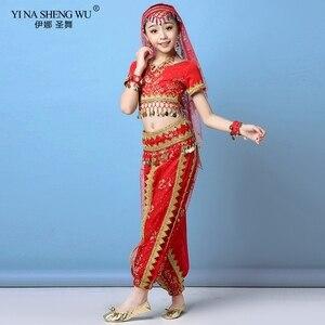 Image 4 - Ensemble Costumes de danse du ventre pour enfants, ensemble de Costumes de danse du ventre Oriental, vêtements indiens, 4 couleurs