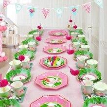 Disposable Party Tableware Flamingo Supplies Plates Theme Birthday Decors