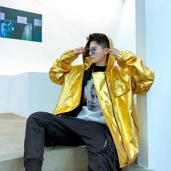 Erkek Mont Ve Ceket Loose Hooded Leather Coat Men Women Gold Streetwear Hip Hop Punk Gothic Casual Jacket Outerwear Blue