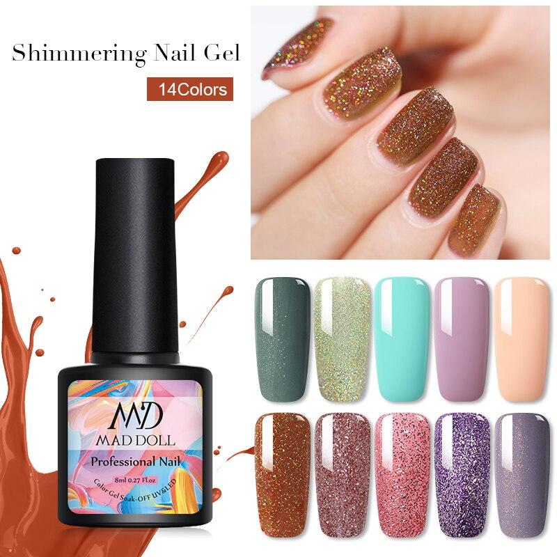 MAD DOLL 8 ML Glitter Nail Gel Polish Shimmer UV Gel Sequins Soak Off  Nail UV Gel Polish DIY Nail Art Varnish